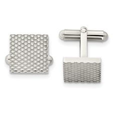 Chisel Stainless Steel Polished and Textured Cuff Links