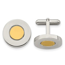 Chisel Stainless Steel Polished and Yellow IP-plated Circle Cuff Links