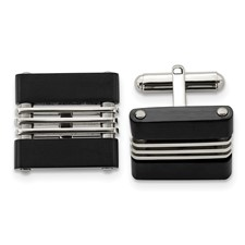 Chisel Stainless Steel Brushed and Polished Black IP-plated Cuff Links