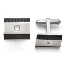 Chisel Stainless Steel Black IP-plated CZ Polished Cuff Links