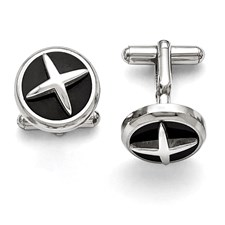 Stainless Steel Polished Enameled X Cufflinks