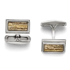 Stainless Steel Polished Creme/Black Enameled Cuff Links