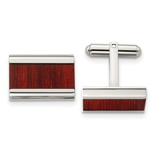 Stainless Steel Polished Red/Orange Wood Inlay Cufflinks
