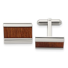 Stainless Steel Polished Brown Wood Inlay Enameled Cuff Links
