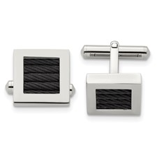 Stainless Steel Polished Black IP-plated Wire Cufflinks
