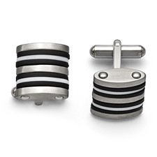 Stainless Steel Brushed Black and White Rubber Cuff Links