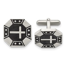 Stainless Steel Matte Black IP-plated Cross Cuff Links
