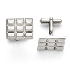 Stainless Steel Grooved and Polished Cufflinks