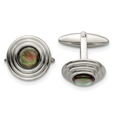 Stainless Steel Polished Black Mother of Pearl Cufflinks