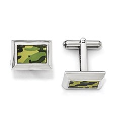 Stainless Steel Polished Printed Green Camo Under Rubber Cufflinks