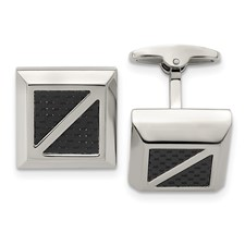 Stainless Steel Polished with Black Carbon Fiber Inlay Square Cuff Links
