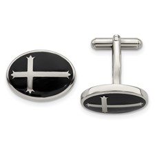 Stainless Steel Polished Black Enamel Cufflinks