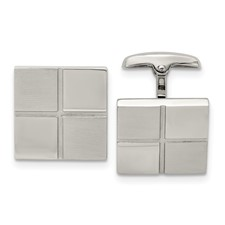 Stainless Steel Brushed and Polished Square Cufflinks