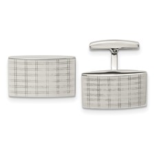 Stainless Steel Polished Laser Design Cufflinks
