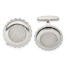 Stainless Steel Polished Textured Round Cuff Links