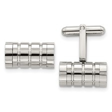 Stainless Steel Polished Grooved Cylinder Cuff Links