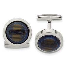 Stainless Steel Polished Blue Cat's Eye Cuff Links