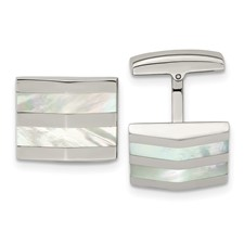 Stainless Steel Polished Mother Of Pearl Square Cufflinks
