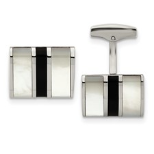 Stainless Steel Polished Black Semi-Precious Stone & MOP Cufflinks