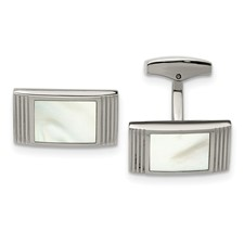 Stainless Steel Polished Mother of Pearl Grooved Rectangle Cufflinks