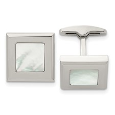 Stainless Steel Polished Mother of Pearl Cufflinks