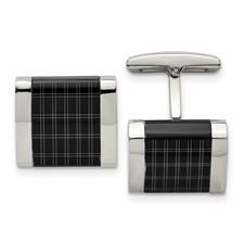 Stainless Steel Polished Black IP-plated Laser Design Cuff Links