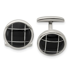 Stainless Steel Polished Black Semi-Precious Stone Round Cufflinks