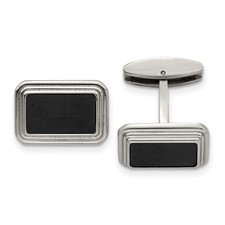 Stainless Steel Brushed/Polished Black IP Plated Cufflinks