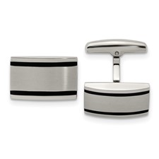 Stainless Steel Brushed and Polished Black Rubber Rectangle Cuff Links