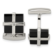 Stainless Steel Polished Black IP CZ Square Cuff Links