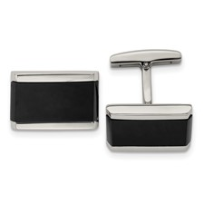 Stainless Steel Polished Black Onyx Rectangle Cufflinks