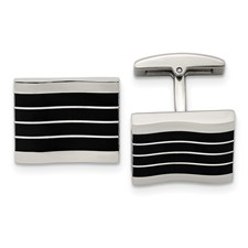 Stainless Steel Polished Black Cat's Eye Rectangle Cuff Links