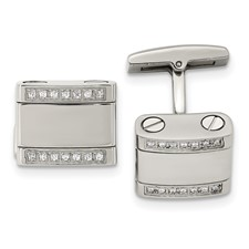 Stainless Steel Polished CZ Cuff Links