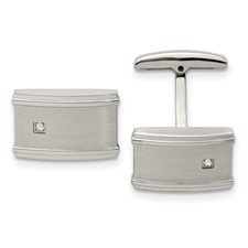 Stainless Steel Brushed/Polished CZ Cuff Links