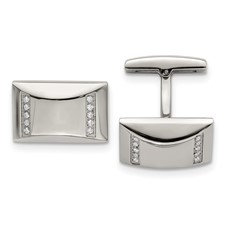 Stainless Steel Polished CZ Rectangle Cuff Links