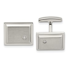 Stainless Steel Brushed and Polished CZ Rectangle Cufflinks