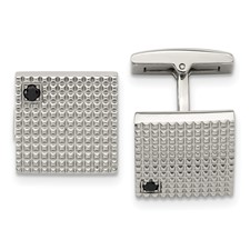 Stainless Steel Polished Texture Black CZ Cufflinks
