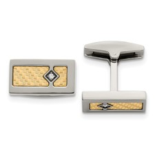 Stainless Steel w/18k Polished Textured Diamond Cuff Links