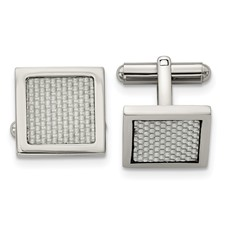 Stainless Steel Polished w/Grey Carbon Fiber Inlay Cufflinks