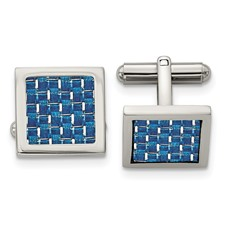 Stainless Steel Polished w/Blue Carbon Fiber Inlay Cuff Links