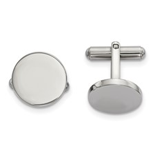 Stainless Steel Polished Circle Cuff Links