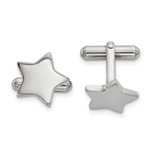 Stainless Steel Polished Star Cuff Links