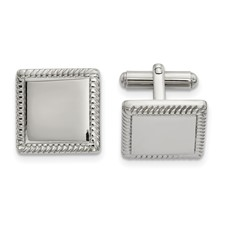 Stainless Steel Polished Square Cuff Links
