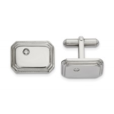 Stainless Steel Polished with CZ Cuff Links