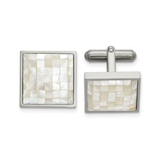 Stainless Steel Polished with Mother of Pearl Cufflinks