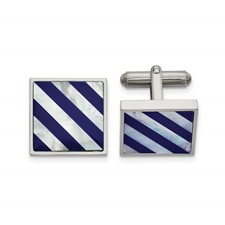 Stainless Steel Polished with Mother of Pearl & Blue Shell Inlay Cuff Links