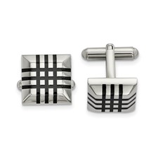 Stainless Steel Polished with Black Rubber Cuff Links