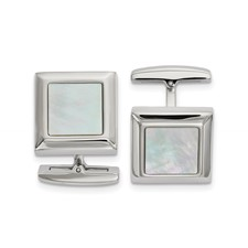 Stainless Steel Polished Mother of Pearl Square Cuff Links