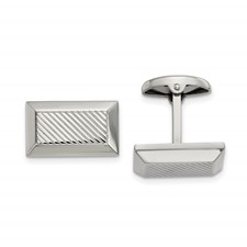 Stainless Steel Polished Textured Rectangle Cuff Links
