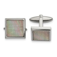 Stainless Steel Polished Rainbow Textured Square Cuff Links